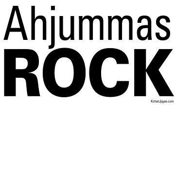 Ahjummas Rock Hoodies & Sweatshirts, Black Lettering by kchatjjigae