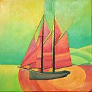 Cubist Abstract Sailing Boat by taiche