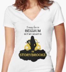 I May Live In Belgium... Women's Fitted V-Neck T-Shirt