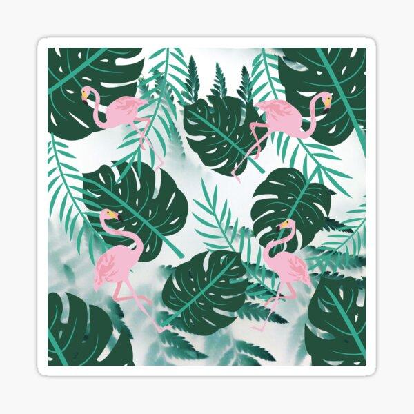 Exotic Pink Flamingos Sticker