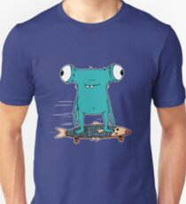 Funny cartoon monster longboarding  T-Shirt
