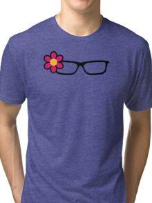 Geek Girl Black Glasses Pretty Colourful Flower Tri-blend T-Shirt
