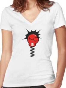 Comic Book Boxing Glove on Spring Pow Women's Fitted V-Neck T-Shirt