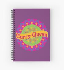 Ethnic Print Curry Queen Spicy Curries Food Addict Spiral Notebook