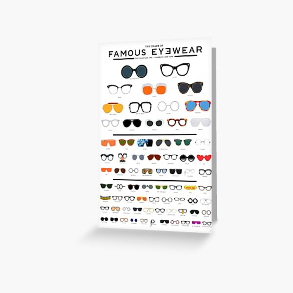 The Chart of Famous Eyewear Greeting Card