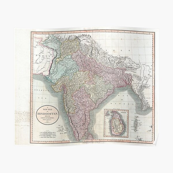 Vintage Map of India (1806) Poster