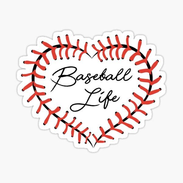 Baseball Life Stitches Heart Love Player Home Plate Dirt Sticker