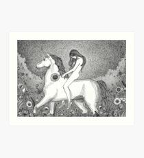 Lady Godiva and her unicorn Art Print
