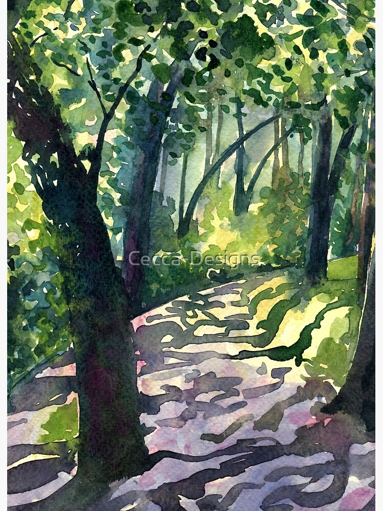 Path into the trees - Descanso Gardens - Original impressionist watercolour landscape by Francesca Whetnall by Cecca-Designs