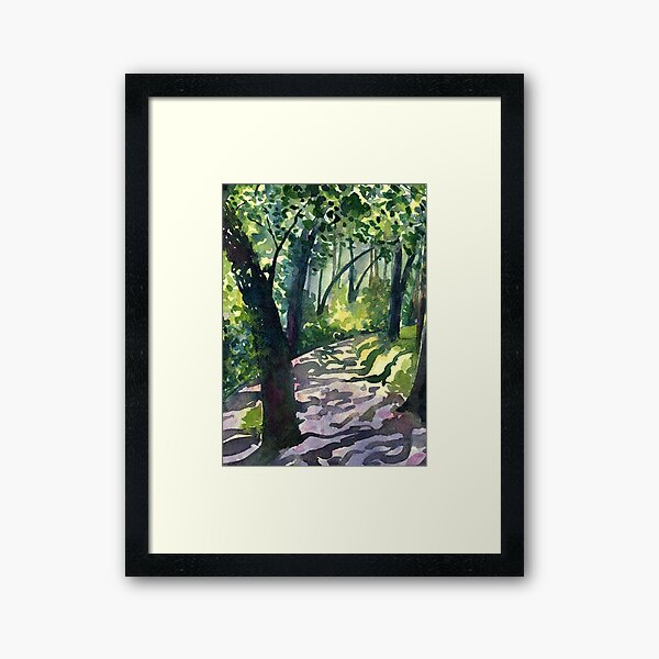Path into the trees - Descanso Gardens - Original impressionist watercolour landscape by Francesca Whetnall Framed Art Print
