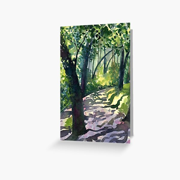 Path into the trees - Descanso Gardens - Original impressionist watercolour landscape by Francesca Whetnall Greeting Card