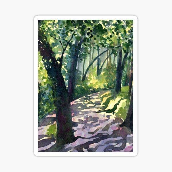 Path into the trees - Descanso Gardens - Original impressionist watercolour landscape by Francesca Whetnall Sticker