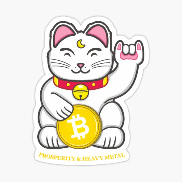 The Lucky Cat of Prosperity and Heavy Metal Sticker