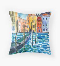 Venice - Original watercolour landscape by Francesca Whetnall Throw Pillow
