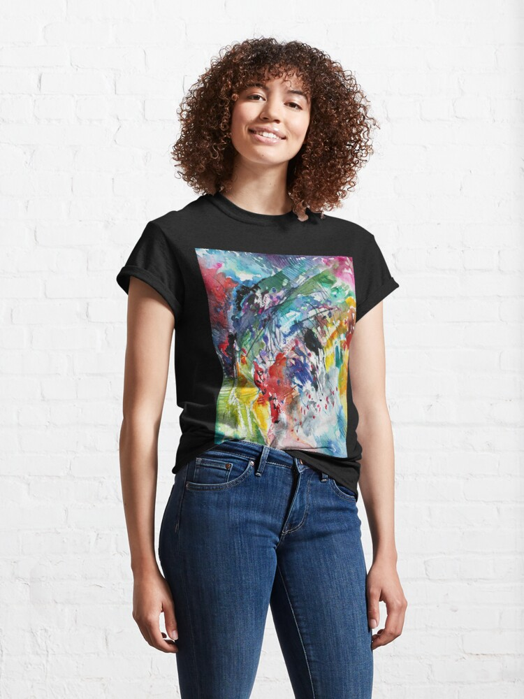 Alternate view of Rainbow landscape  - Original abstract watercolour by Francesca Whetnall Classic T-Shirt