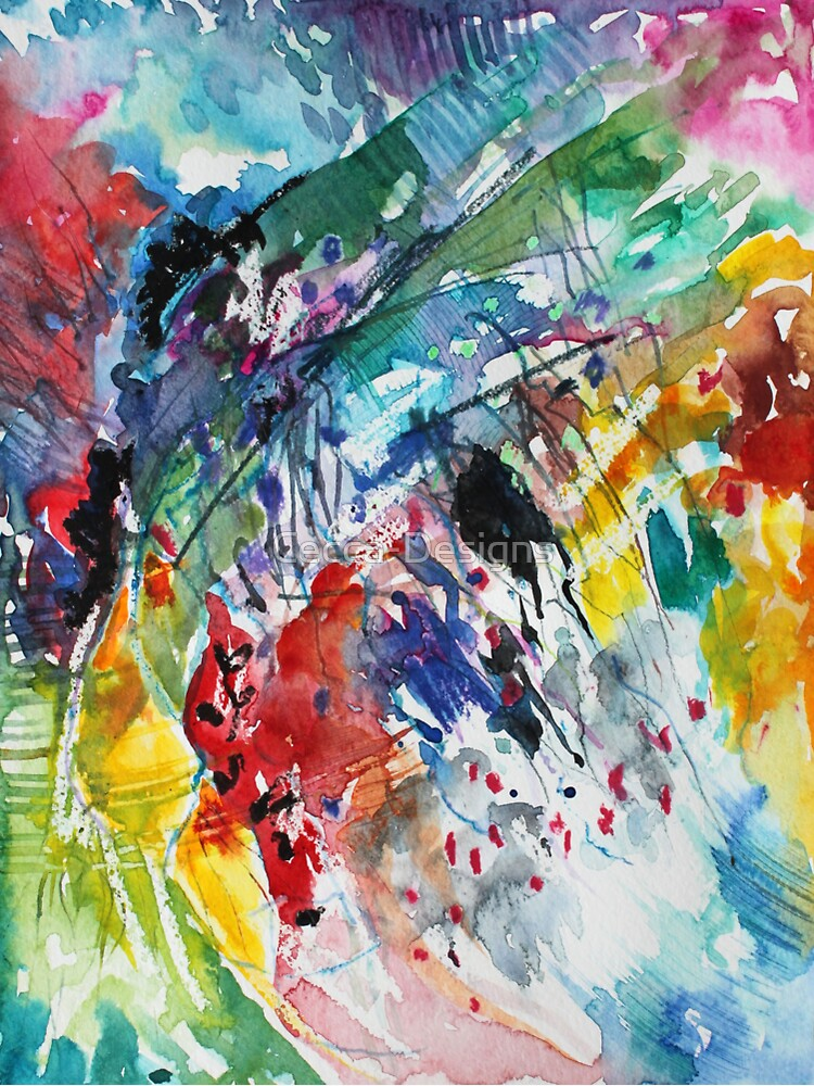 Rainbow landscape  - Original abstract watercolour by Francesca Whetnall by Cecca-Designs