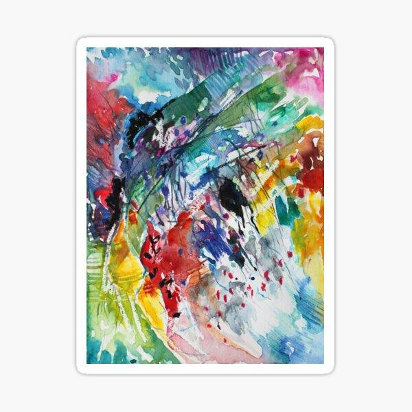 Rainbow landscape  - Original abstract watercolour by Francesca Whetnall Sticker