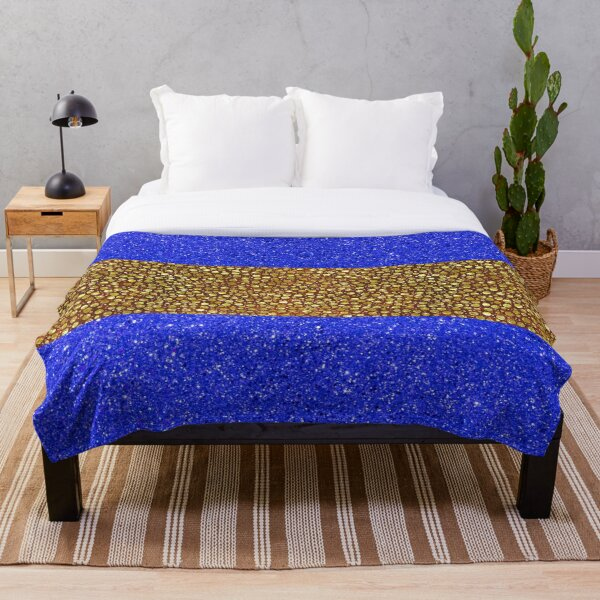 Blue With Gold Shimmery Balls Throw Blanket