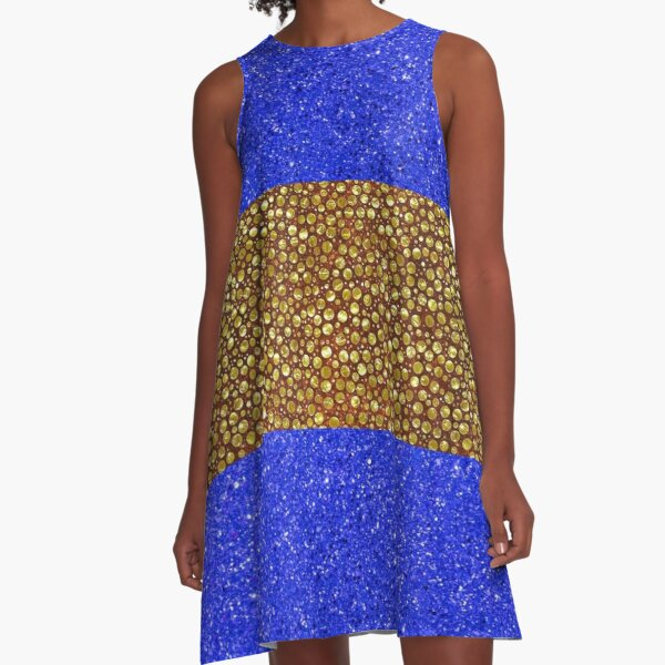 Blue With Gold Shimmery Balls A-Line Dress
