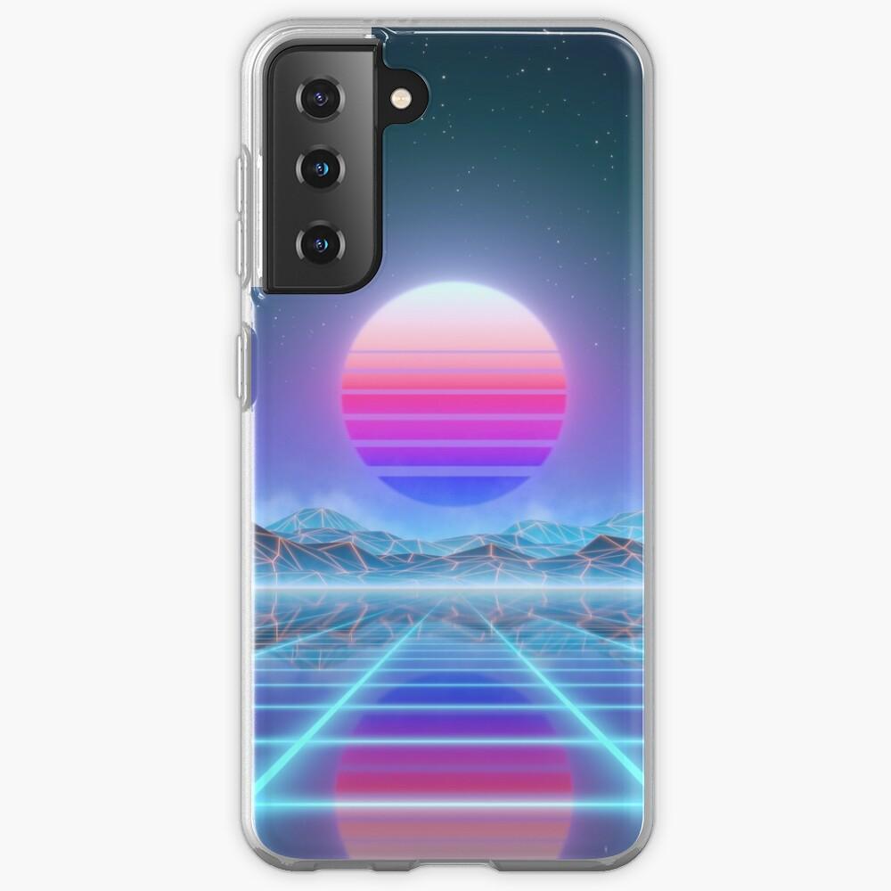 80's retro sun in synthwave landscape (Blue/Purple) Samsung Galaxy Phone Case