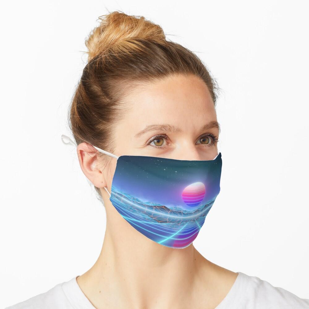 80's retro sun in synthwave landscape (Blue/Purple) Mask