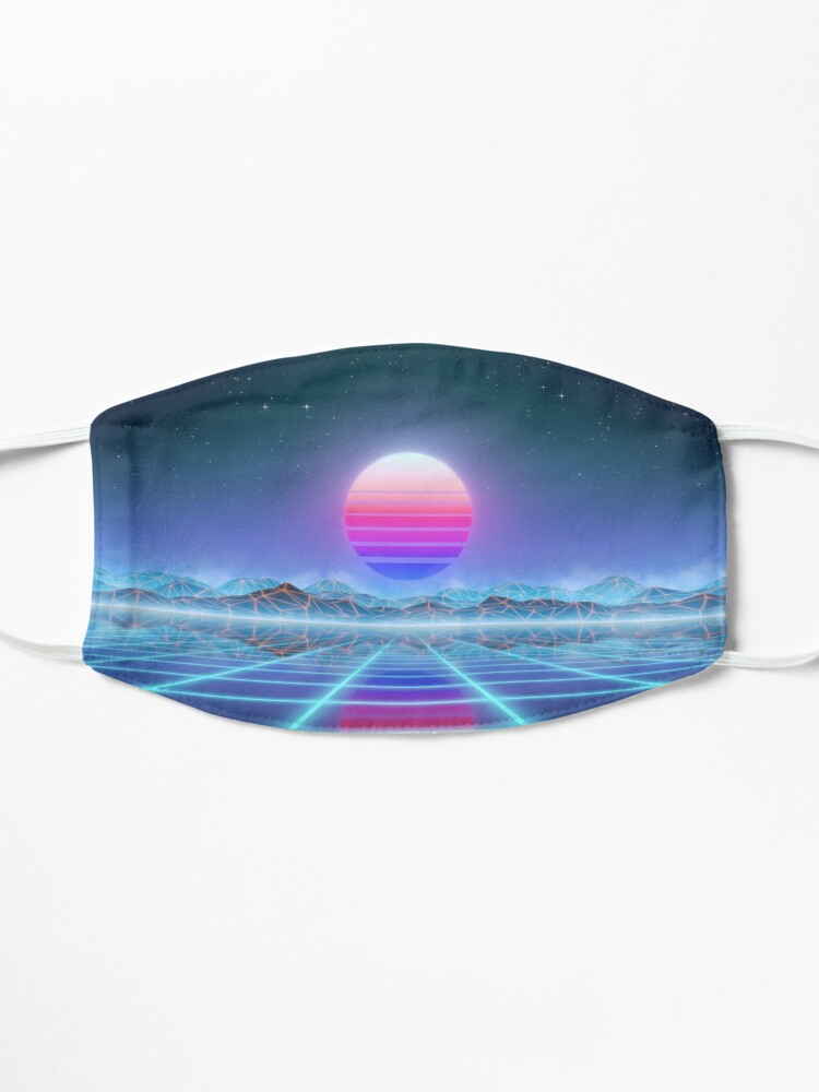 Alternate view of 80's retro sun in synthwave landscape (Blue/Purple) Mask