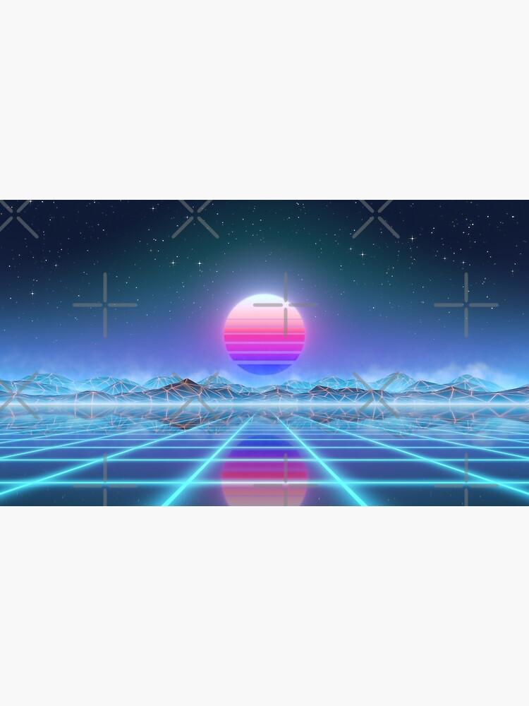 80's retro sun in synthwave landscape (Blue/Purple) by GaiaDC