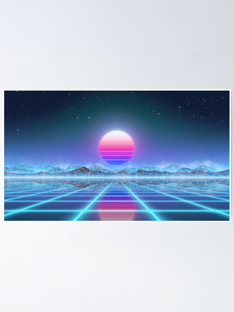 Alternate view of 80's retro sun in synthwave landscape (Blue/Purple) Poster