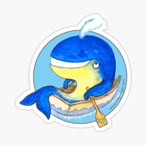 Happy Rowing Whale Sticker