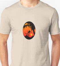 Man Surfing at Sunset Graphic Illustration Unisex T-Shirt