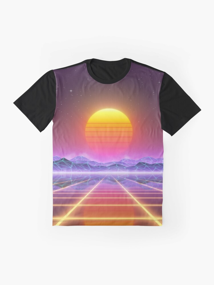 Alternate view of 80's retro sun in synthwave landscape (Blue/Purple/Yellow) Graphic T-Shirt