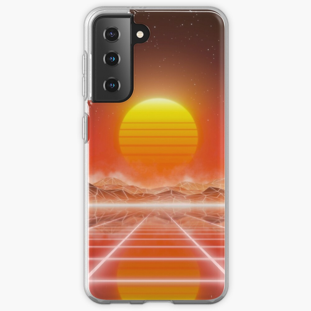 80's retro sun in synthwave landscape (Red) Samsung Galaxy Phone Case