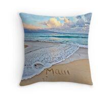 Maui in the Sand at Baldwin Beach Throw Pillow