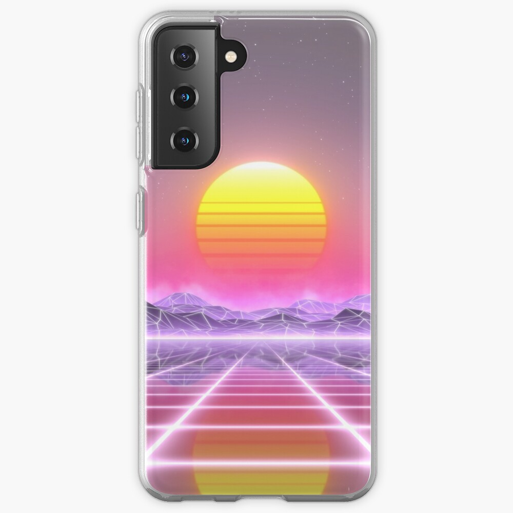 80's retro sun in synthwave landscape (Lilac/Purple/Pink) Samsung Galaxy Phone Case