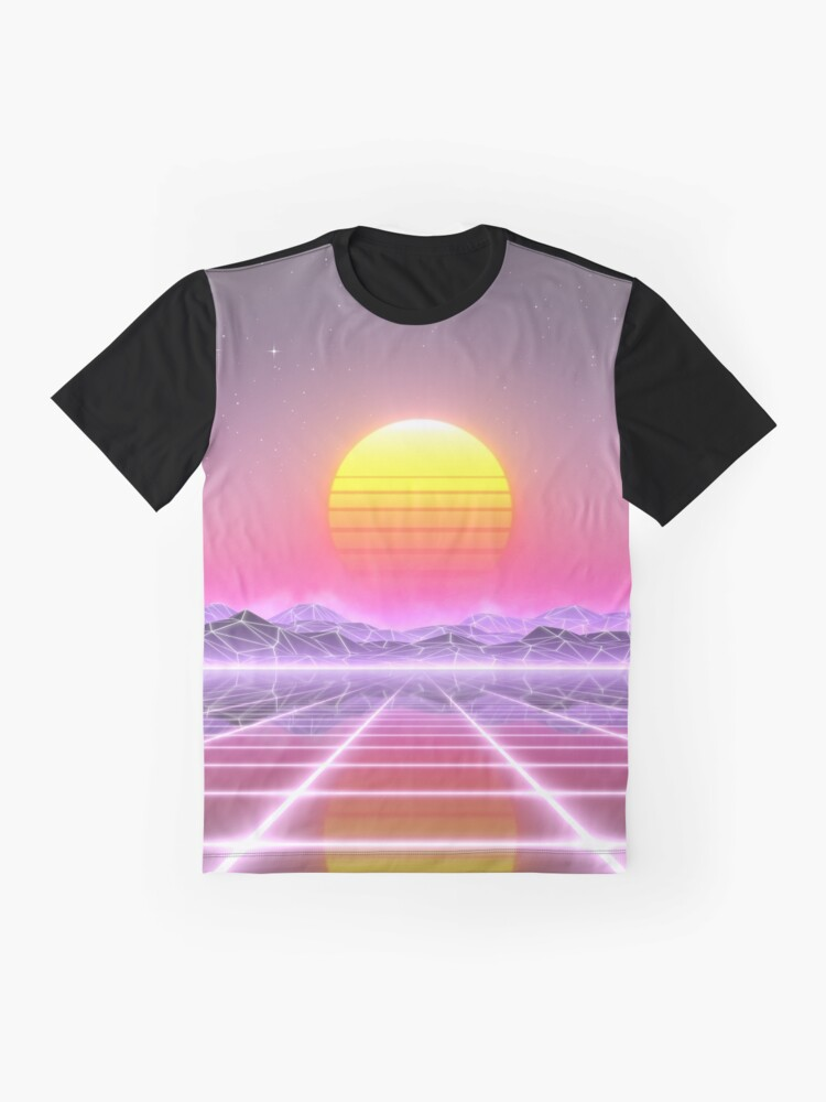 Alternate view of 80's retro sun in synthwave landscape (Lilac/Purple/Pink) Graphic T-Shirt