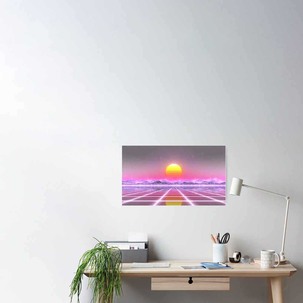 80's retro sun in synthwave landscape (Lilac/Purple/Pink) Poster