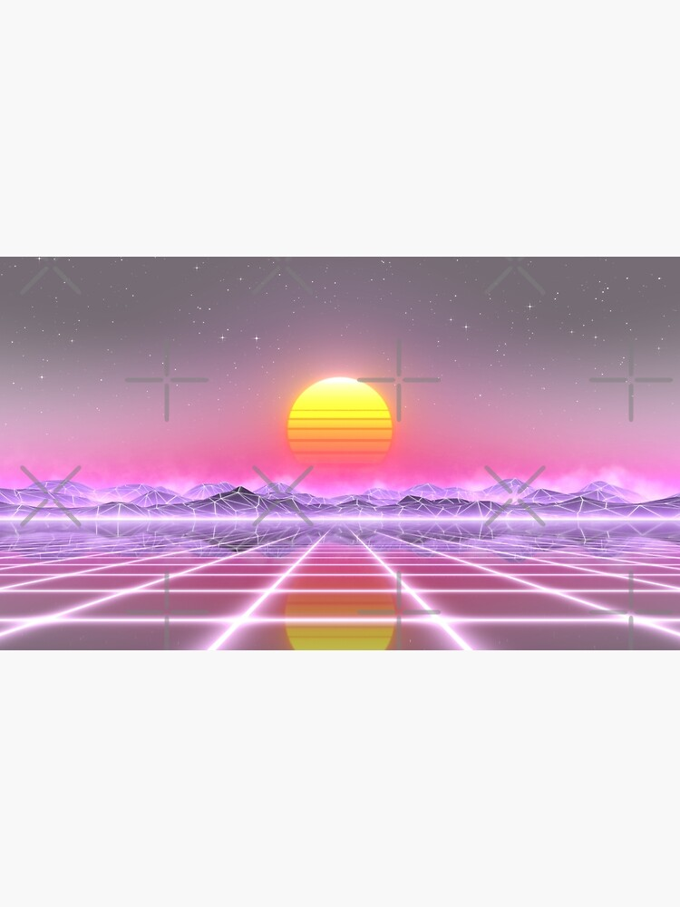 80's retro sun in synthwave landscape (Lilac/Purple/Pink) by GaiaDC