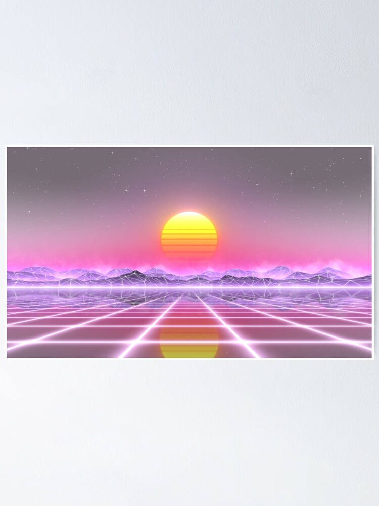 Alternate view of 80's retro sun in synthwave landscape (Lilac/Purple/Pink) Poster