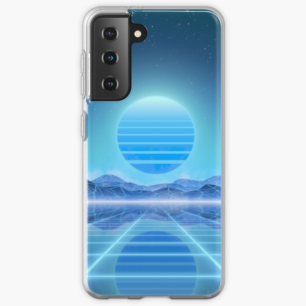 80's retro sun in synthwave landscape (Blue) Samsung Galaxy Phone Case