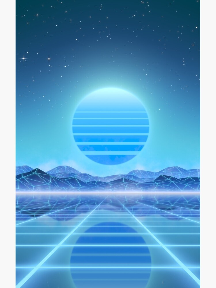 80's retro sun in synthwave landscape (Blue) by GaiaDC