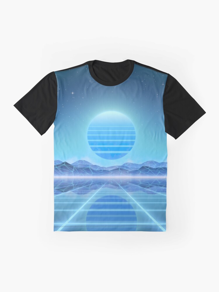Alternate view of 80's retro sun in synthwave landscape (Blue) Graphic T-Shirt