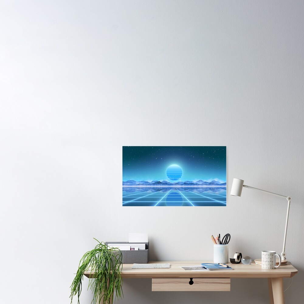 80's retro sun in synthwave landscape (Blue) Poster