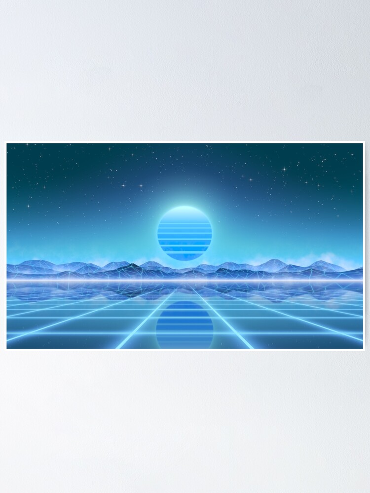 Alternate view of 80's retro sun in synthwave landscape (Blue) Poster