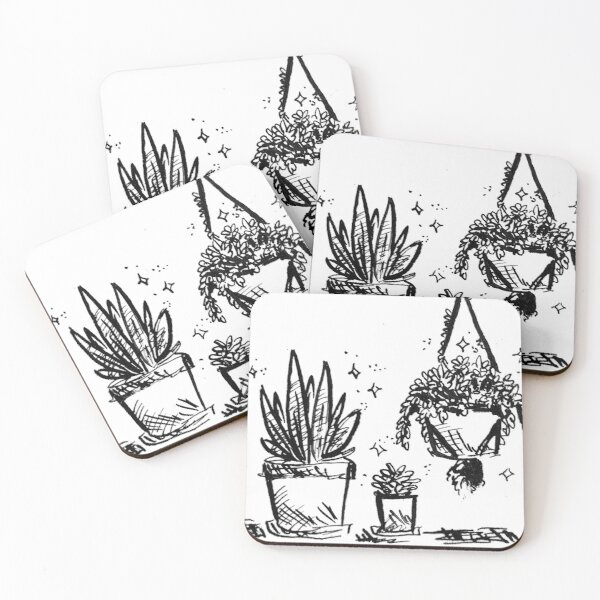 Succulent Fern Potted Plants Coasters (Set of 4)