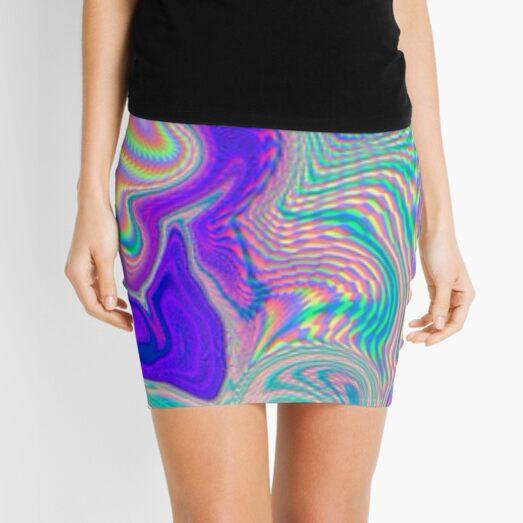 Purple Holographic Pattern Mini Skirt