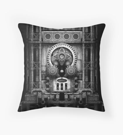 Infernal Steampunk Vintage Machine #3 Monochrome Throw Pillow