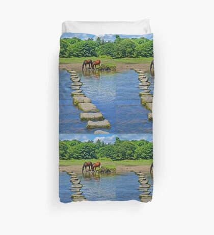 2 Horses at Famous Ogmore Stepping Stones (Wales) Duvet Cover