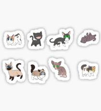 8 Sad Cat Stickers Sticker