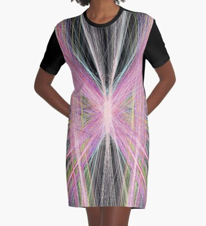 Linify Pink butterfly on dark background Graphic T-Shirt Dress