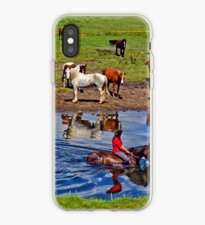 Horse riding in a river, near Ogmore Castle, Wales iPhone Case
